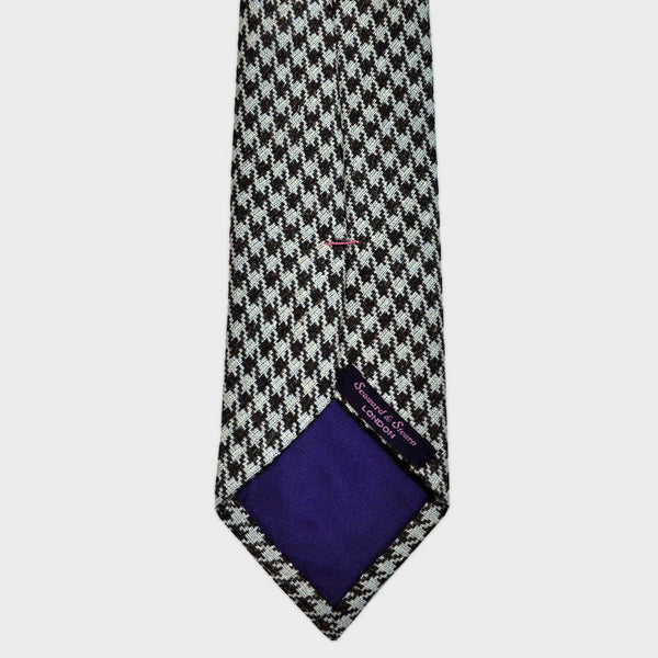 Brown Houndstooth Panama Weave Silk Tie