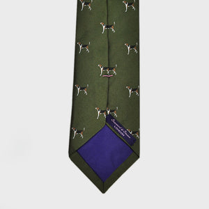 English Woven Silk Pointer Tie in Dark Olive