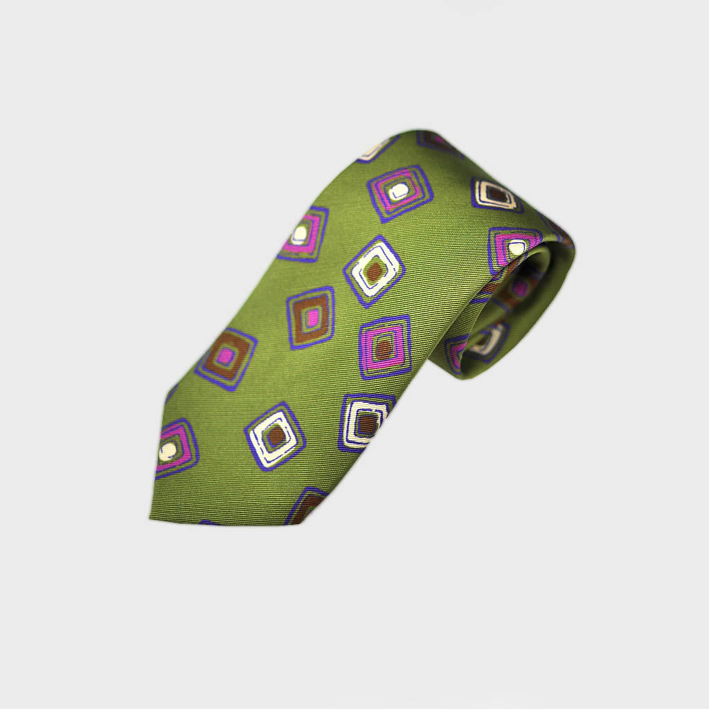 Funky Little Geo's Bottle Neck Silk Tie in Lime