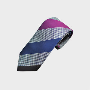 Block Stripes & Puppy Tooth Bottle Neck Silk Tie in Pink, Blue & Brown
