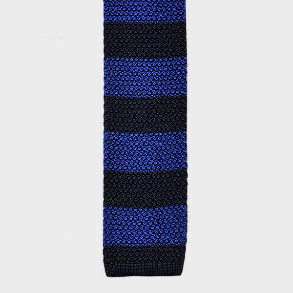 Royal Blue Stripe Silk Knitted Tie