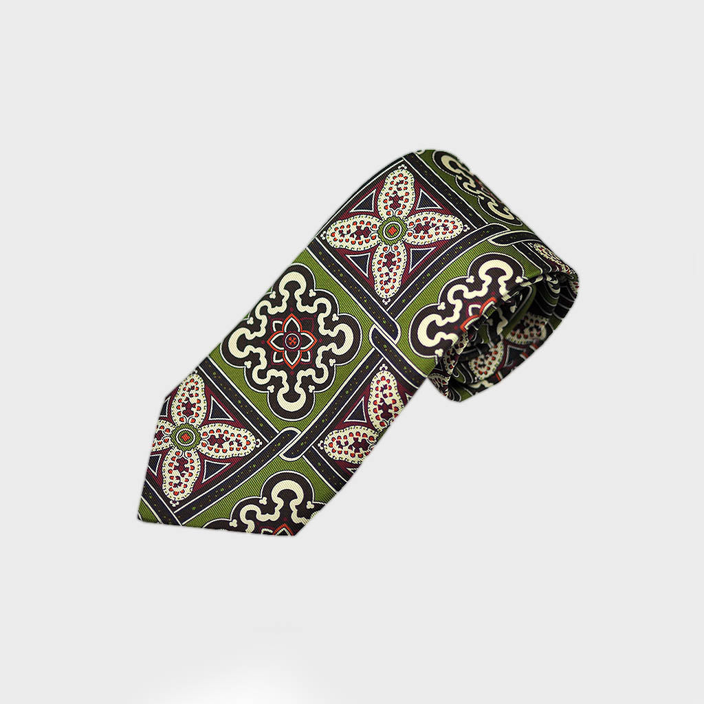 Big & Bold Florets & Medallions Bottle Neck Silk Tie in Lime