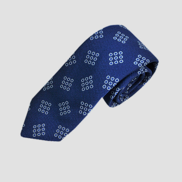 English Woven Silk Dotty Geo's Tie