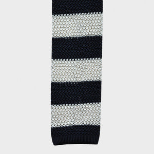 Contrast Stripe Silk Knitted Tie