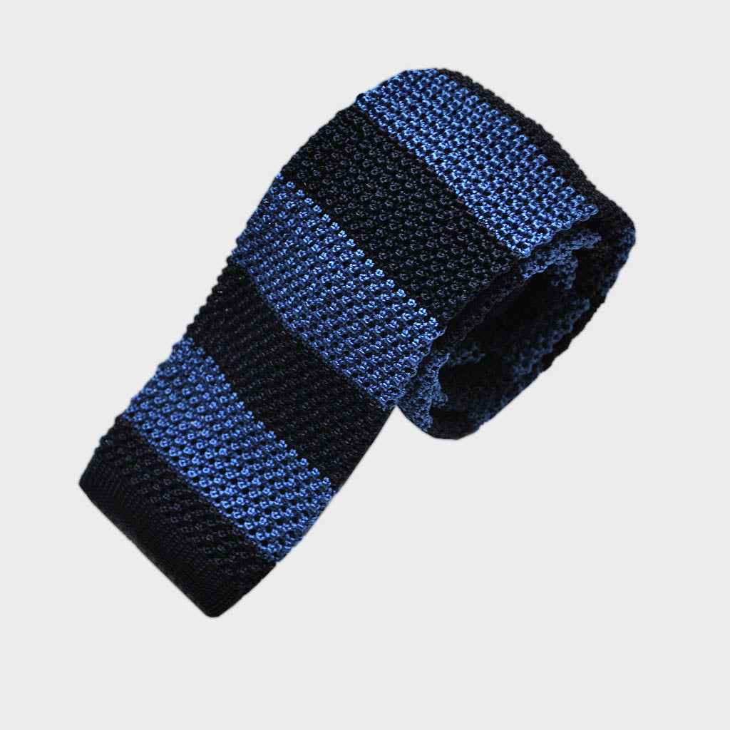 Blue Stripes Silk Knitted Tie