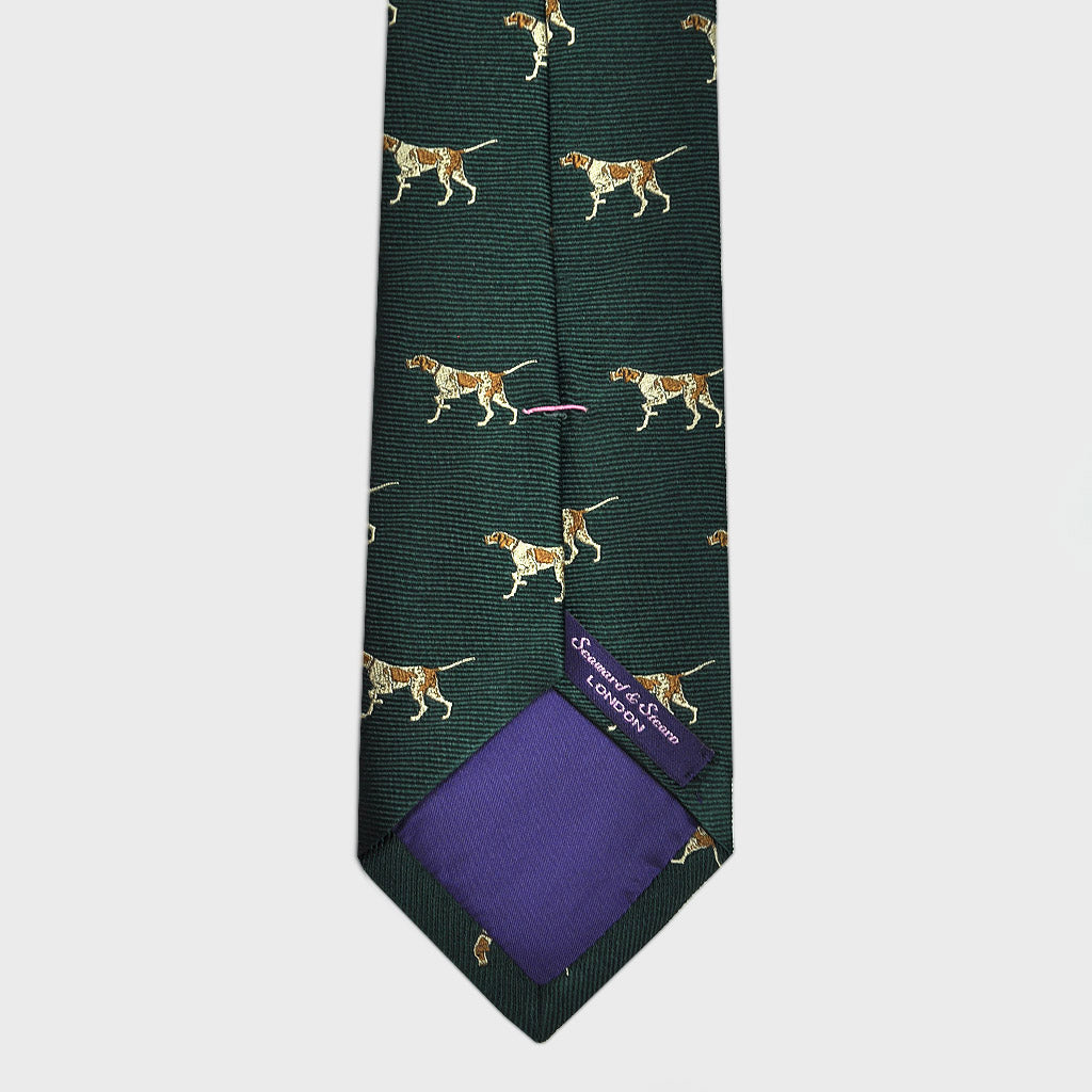 English Woven Silk Pointing Pointer Tie in Bottle Green