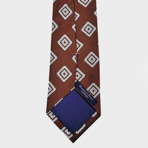 Burnt Sienna Diamond Geo Natte Silk Tie