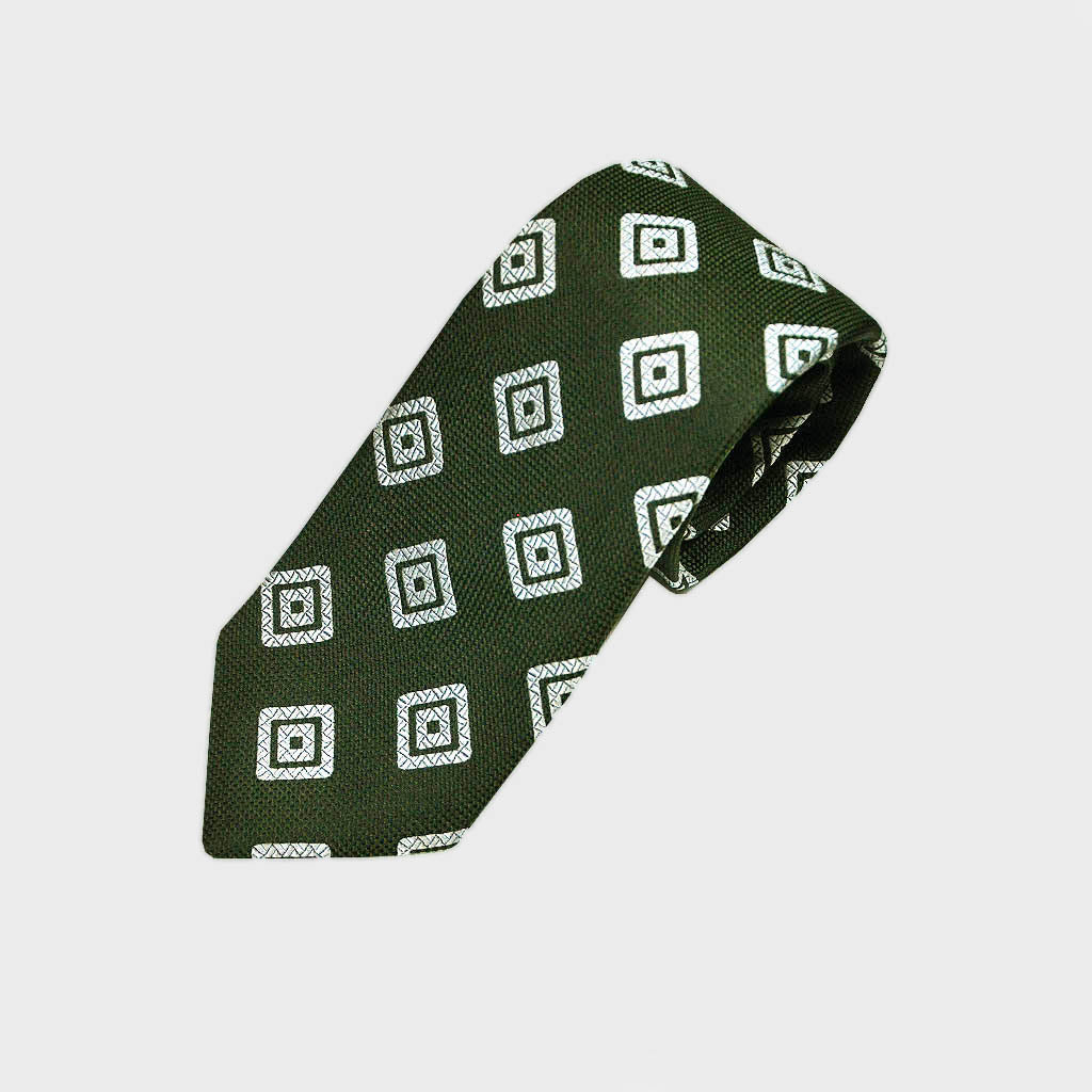 Bottle Green Diamond Geo Natte Silk Tie