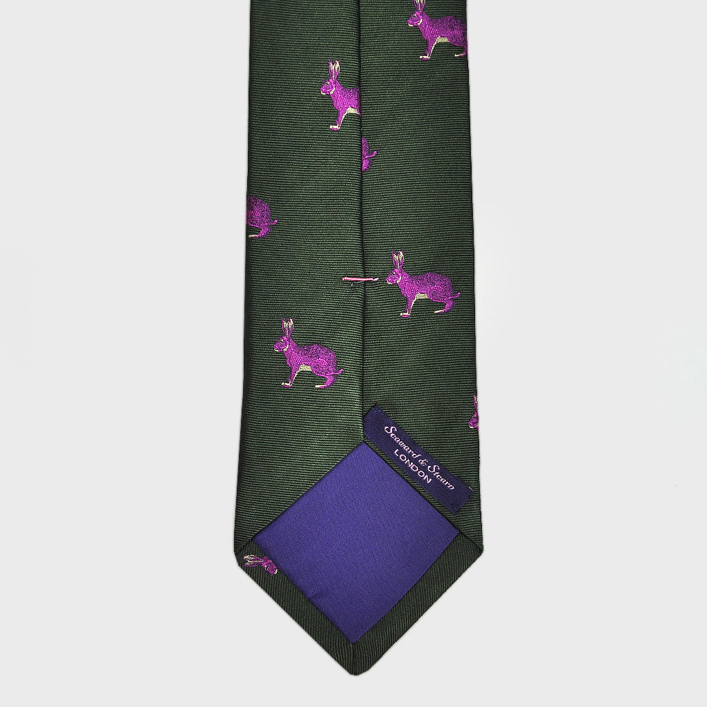 English Woven Silk Pink Rabbit Tie in Pink & Olive