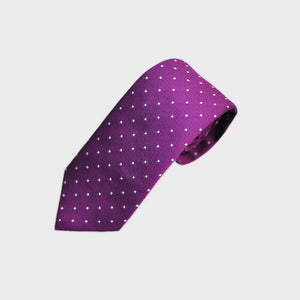 Little Squares on Textured Weave Bottle Neck Silk Tie in Purple
