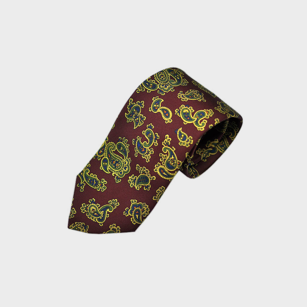 Richly Buteh Bottle Neck Silk Tie Claret & Lime
