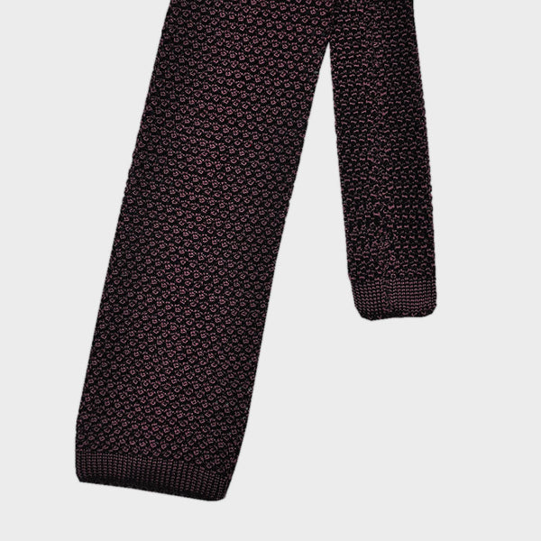 Brown Red Silk Knitted Tie