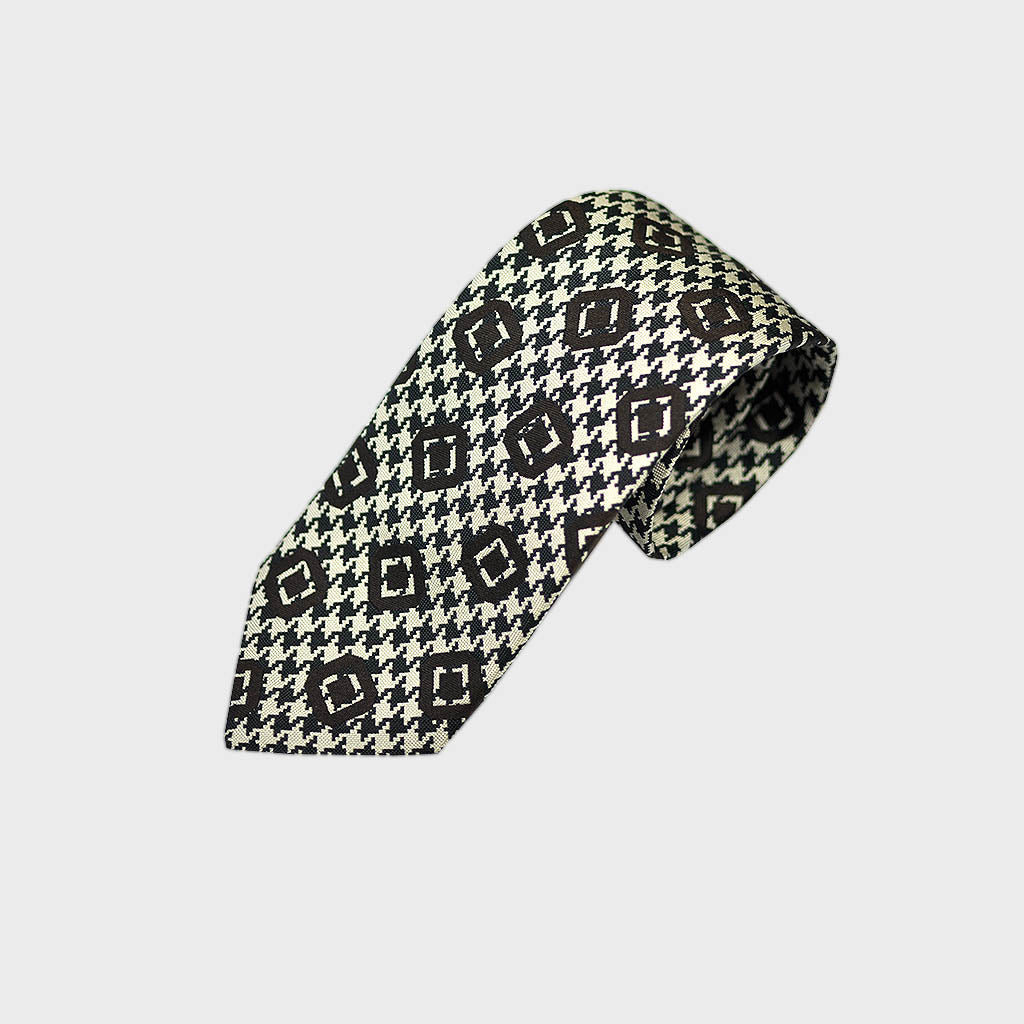 Puppy Tooth & Geo's Bottle Neck Silk Tie in Claret
