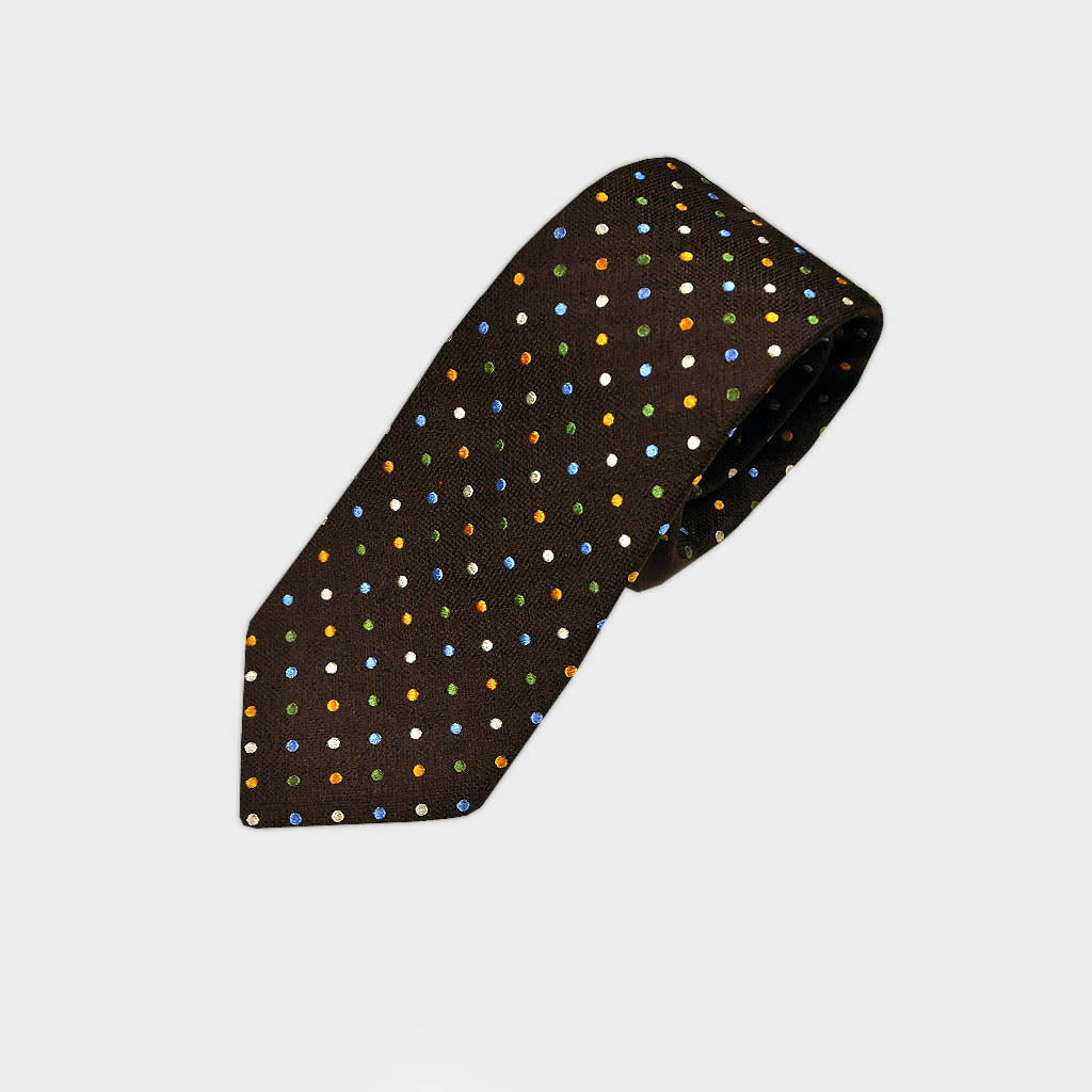 Brown Woven Silk Tie with Colourful Dots