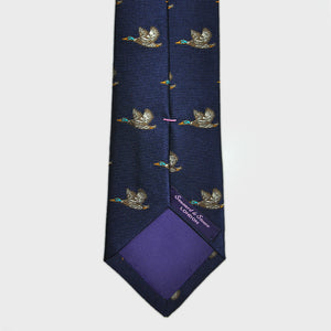 English Woven Silk 'Fyling South' Tie in Navy