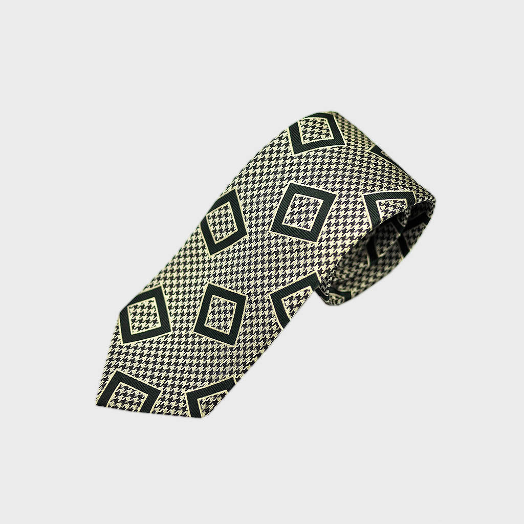 Puppy Tooth & Geo's Bottle Neck Silk Tie in Bottle Green