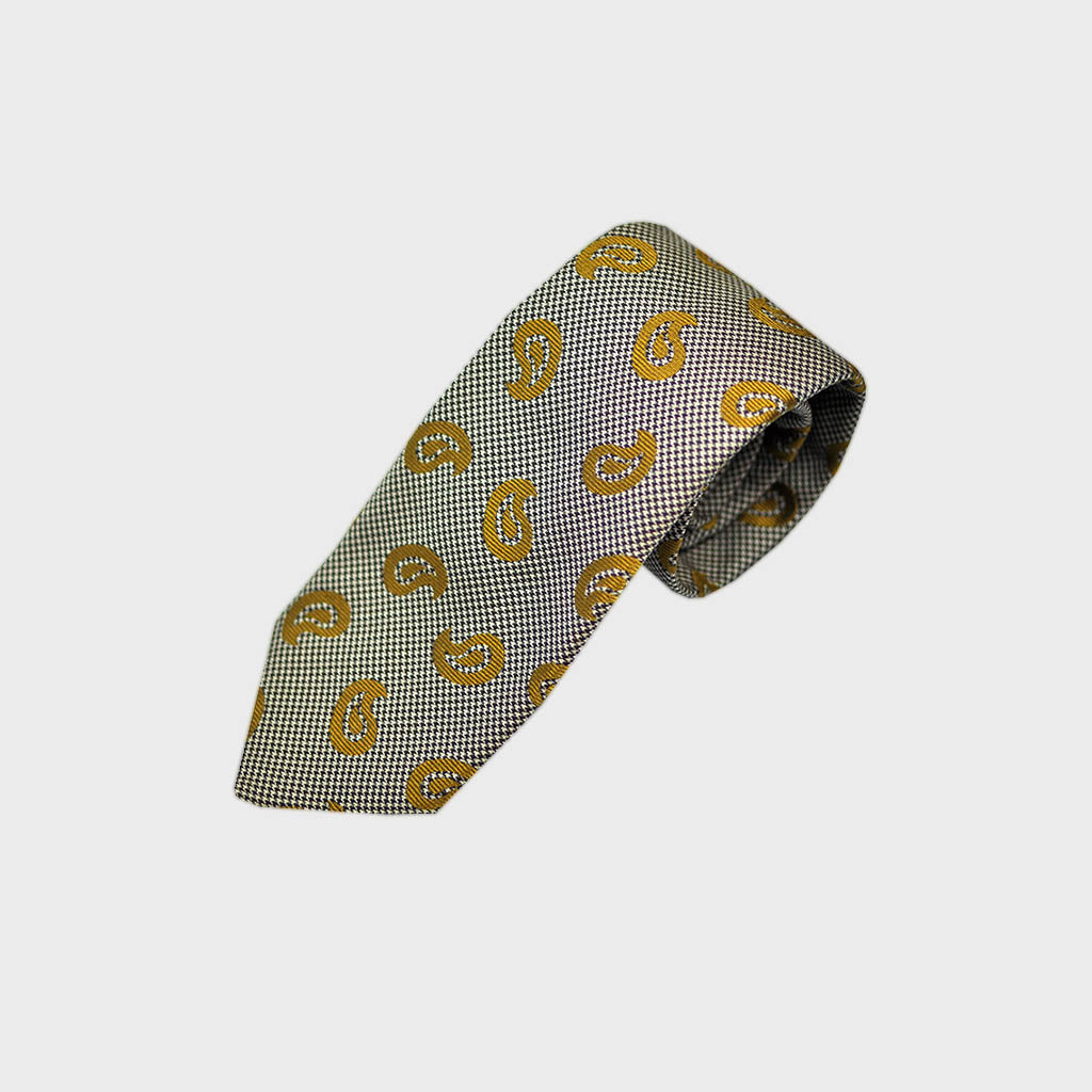 Puppy Tooth & Teardrops Bottle Neck Silk Tie in Gold