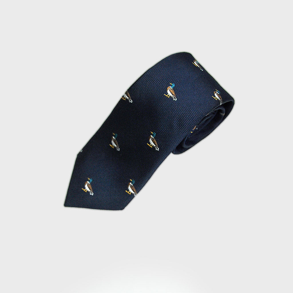 English Woven Silk 'Waddling Duck' Tie in Navy