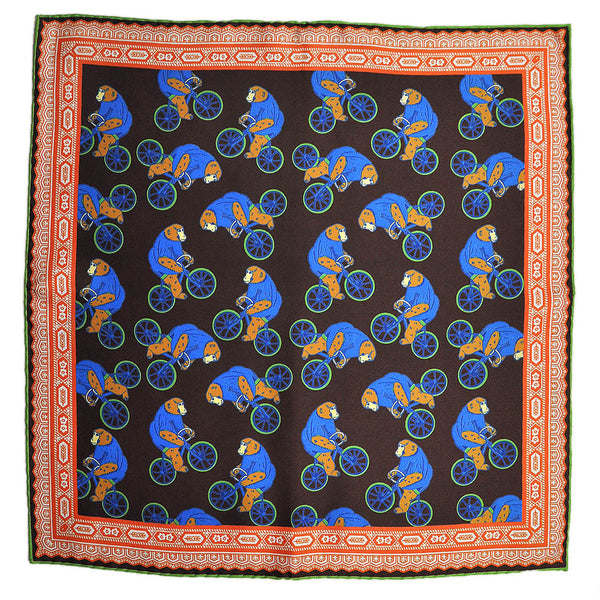 English Silk Cycling Gorilla Pocket Square