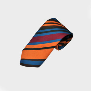 Brushed Stripes Bottle Neck Raw Silk Tie in Ochre & Blue