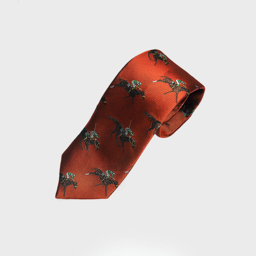 English Woven Silk 'Racing Horses' Tie in Sunset Orange