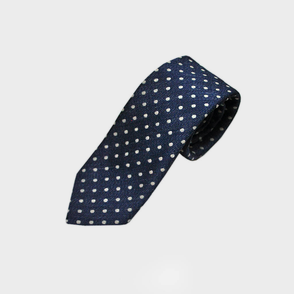 Denim Blue Woven Silk Tie with White Dots