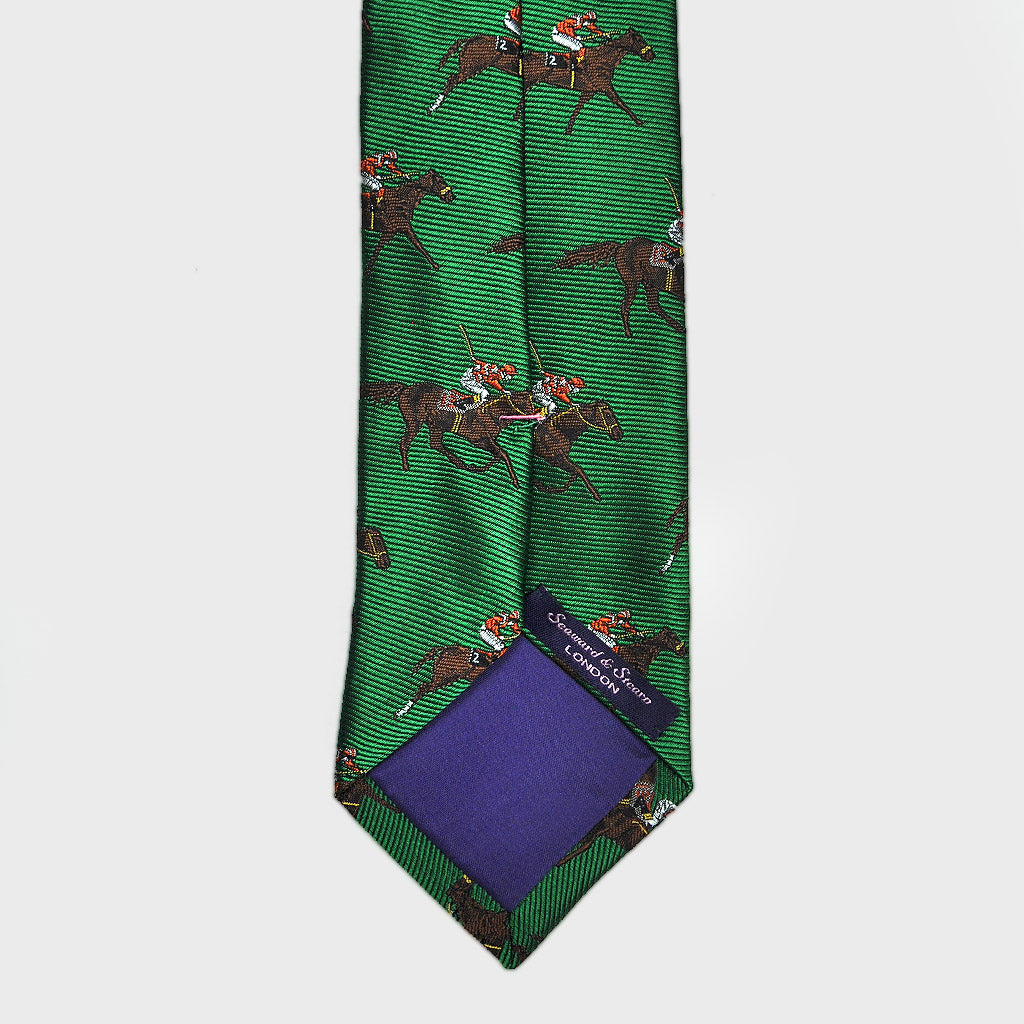 English Woven Silk 'Racing Horses' Tie in Lawn Green