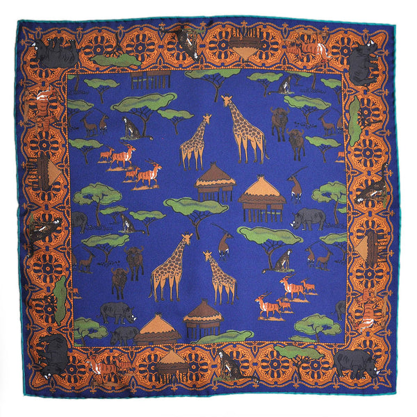 English Silk Summer Colour Safari Pocket Square