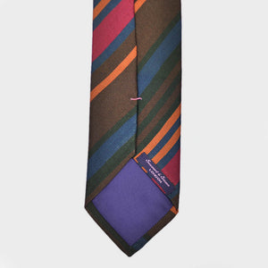 Brushed Stripes Bottle Neck Raw Silk Tie in Brown & Red
