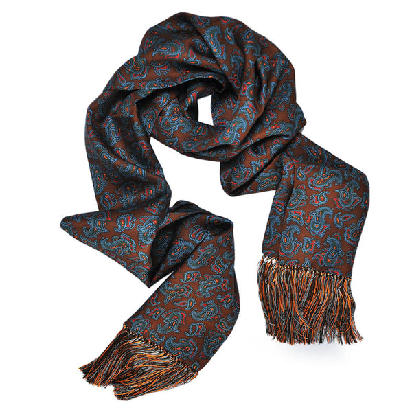 English Silk Paisley Scarf with Tassels