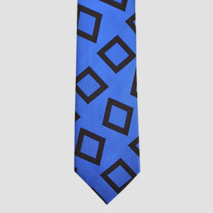 English Woven Silk Funky Geo's Tie in Sapphire Blue & Brown