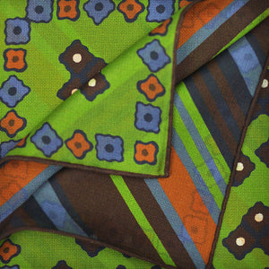 Geo's & Brushed Stripes Reversible Panama Silk Pocket Square in Lime & Brown