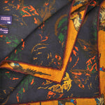 Pheasant in Ochre and Autumnal Leaves Reversible Panama Silk Pocket Square