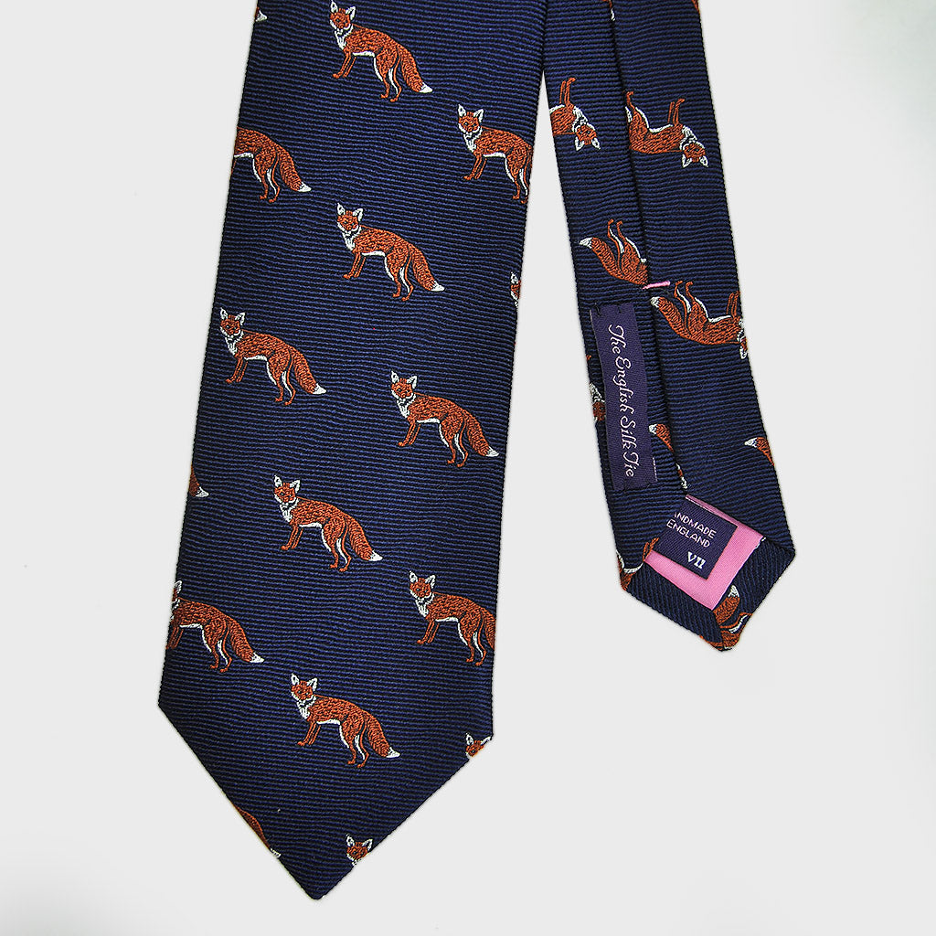 English Woven Silk 'Foxy Loxy' Tie in Navy