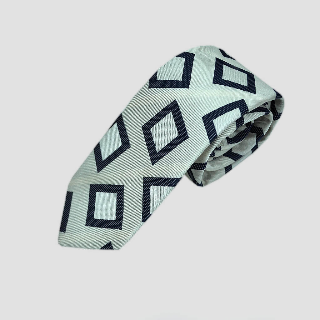 English Woven Silk Funky Geo's Tie in White & Blue