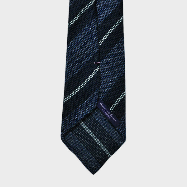Blue Blocks and Stripes Hand Rolled Silk Grenadine Tie
