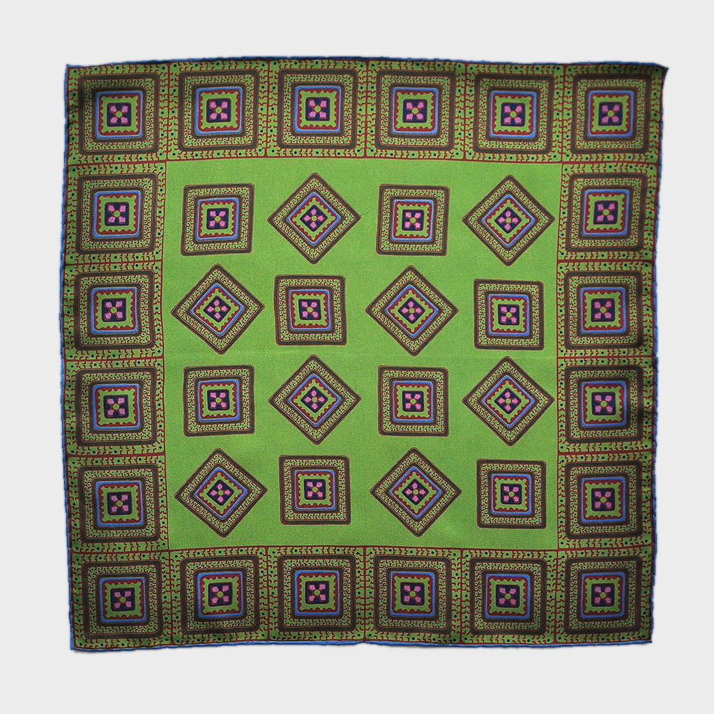 English Silk Groovy Aztec Pocket Square in Lime & Claret