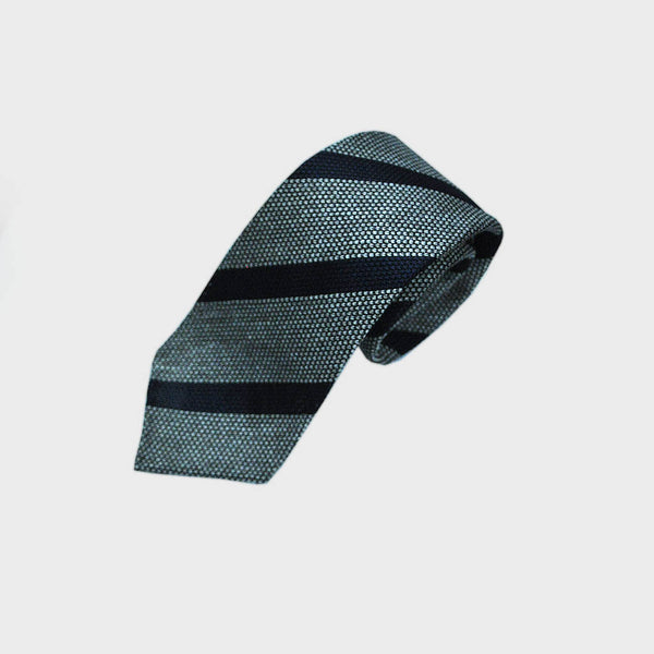 Navy and Grey Stripe Hand Rolled Silk Grenadine Tie