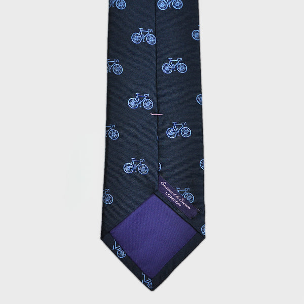 English Woven Silk 'Hommage au Velo' Tie in Blues
