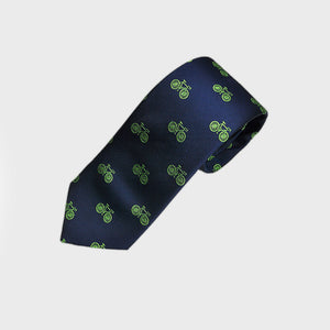 English Woven Silk 'Hommage au Velo' Tie in Lime & Navy