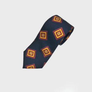 Funky Squares Silk Tie in Midnight Blue