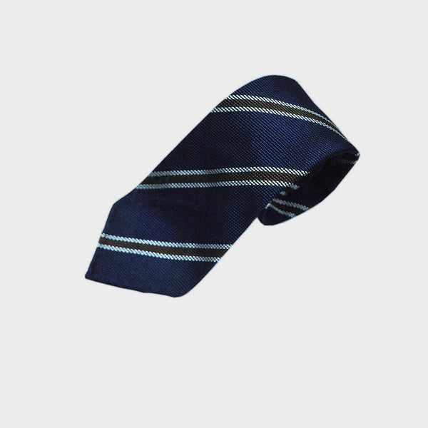Blue with Brown Stripes Hand Rolled Silk Grenadine Tie