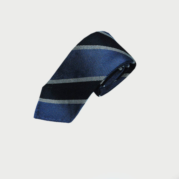 Navy and Cobalt Club Stripes Hand Rolled Silk Grenadine Tie