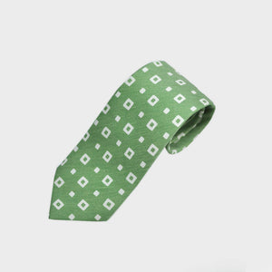 Square Shapes Silk & Linen Tie in Lime