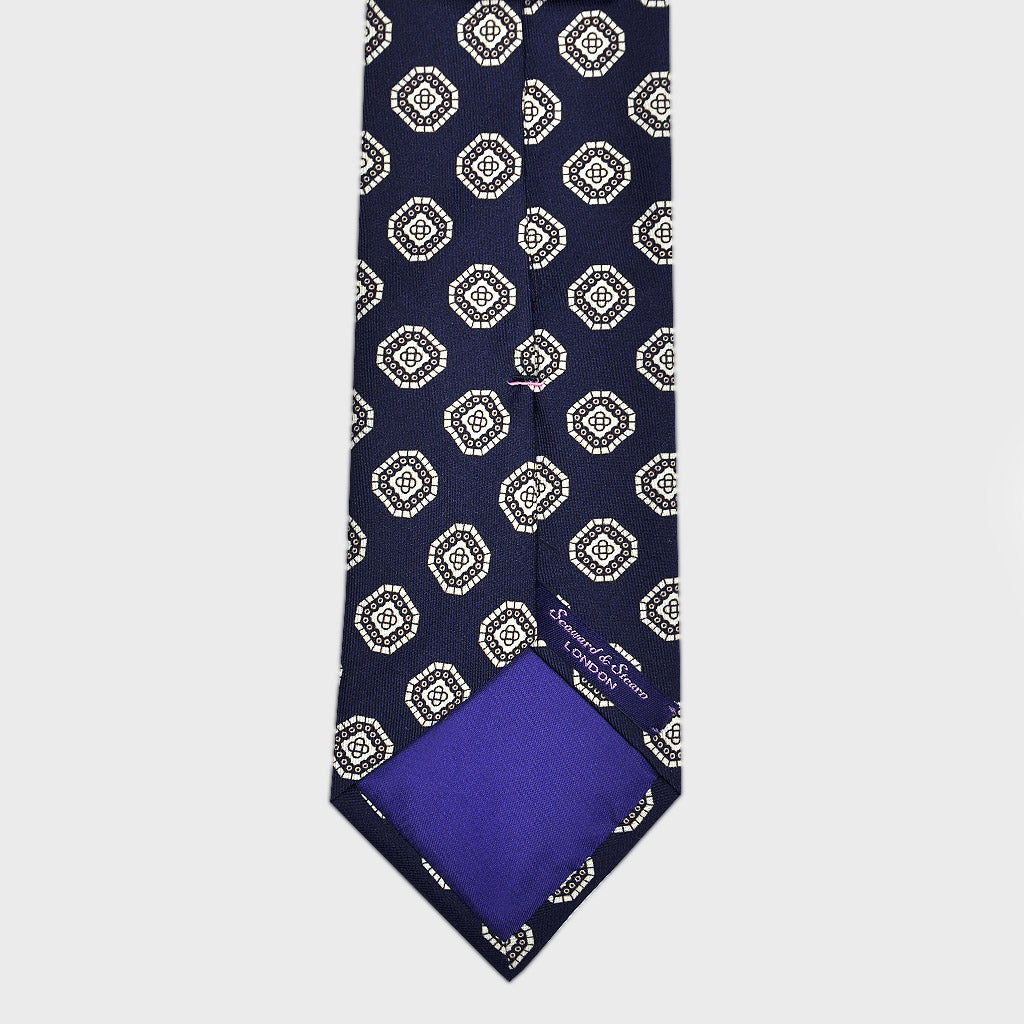 Neat Repeat Medallion Silk Tie in Navy Blue & Greys