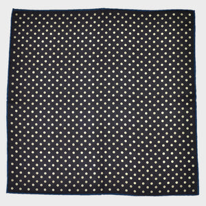 Blue & White Dots & Brown PoW Check Reversible Panama Silk Pocket Square
