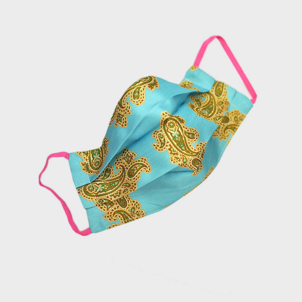 Ladies Paisley Silk Face Cover in Teal
