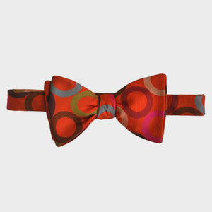 English Woven Silk Orange & Colours Hoop Bow Tie