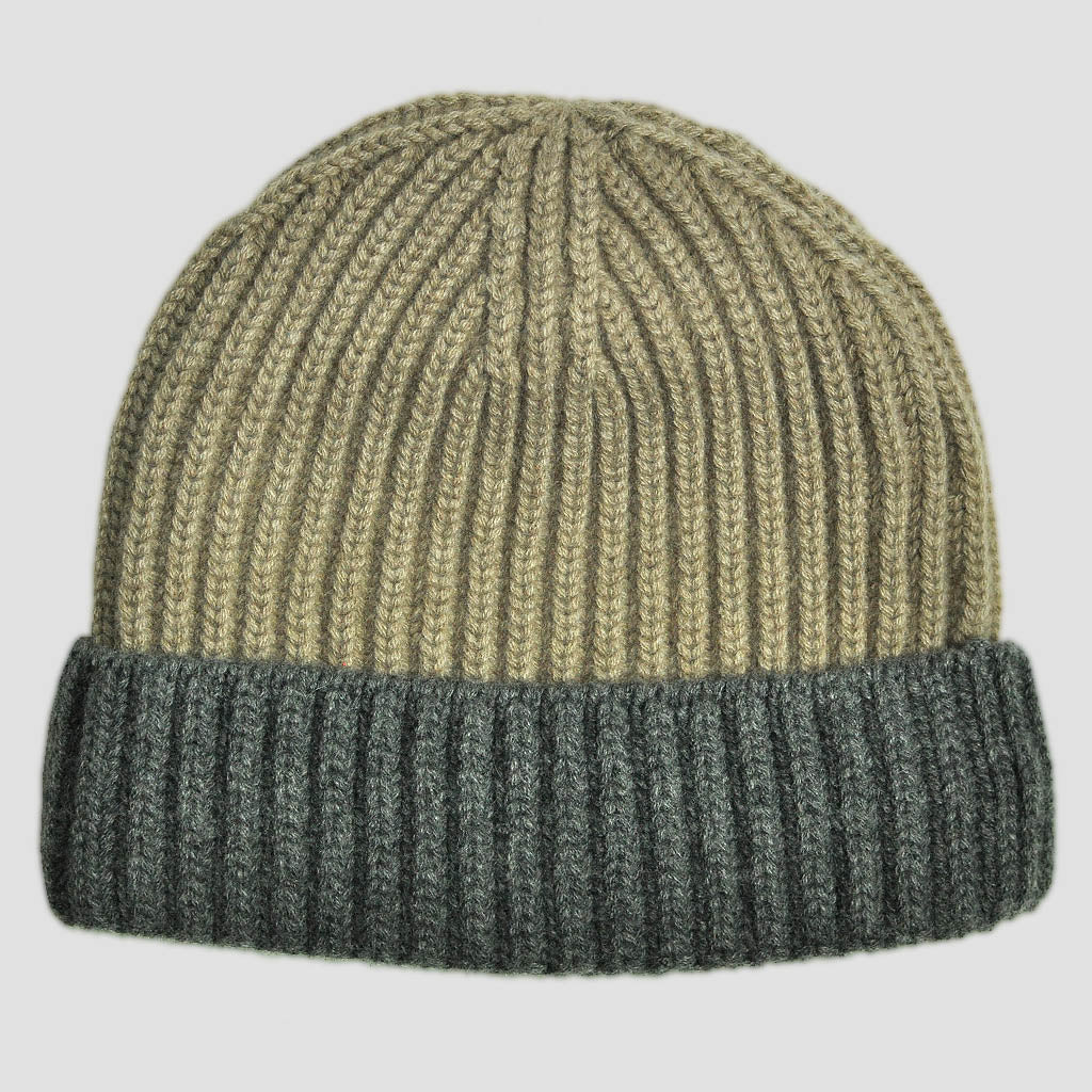 Four Ply Cashmere Winter Beanie in Camel & Grey