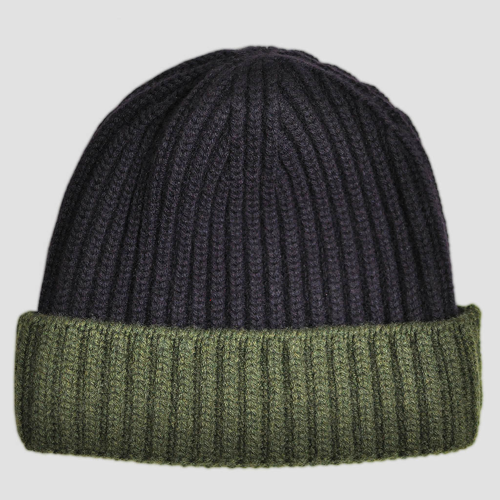 Four Ply Cashmere Winter Beanie in Purple & Green
